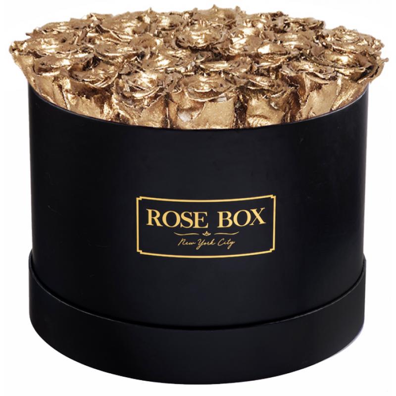 Рози в Кутия - GRAND SUPER DELUXE GOLD - 51 златни рози от сапун в елегантна кутия