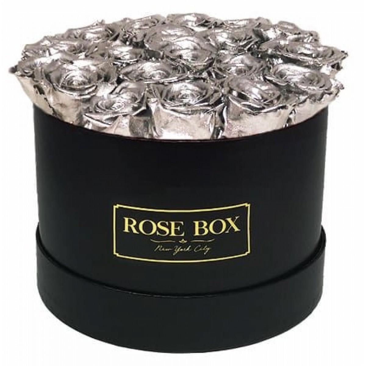 GRAND DELUXE  SILVER - 25 златни рози от сапун в елегантна кутия