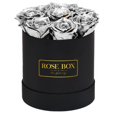 Валентин DELUXE  SILVER - 7 сребърни рози от сапун в елегантна кутия